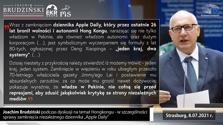 Eurodeputowani PiS o sprawie zamknięcia Apple Daily: Dziś wszyscy jesteśmy z mieszkańcami Hong Kongu